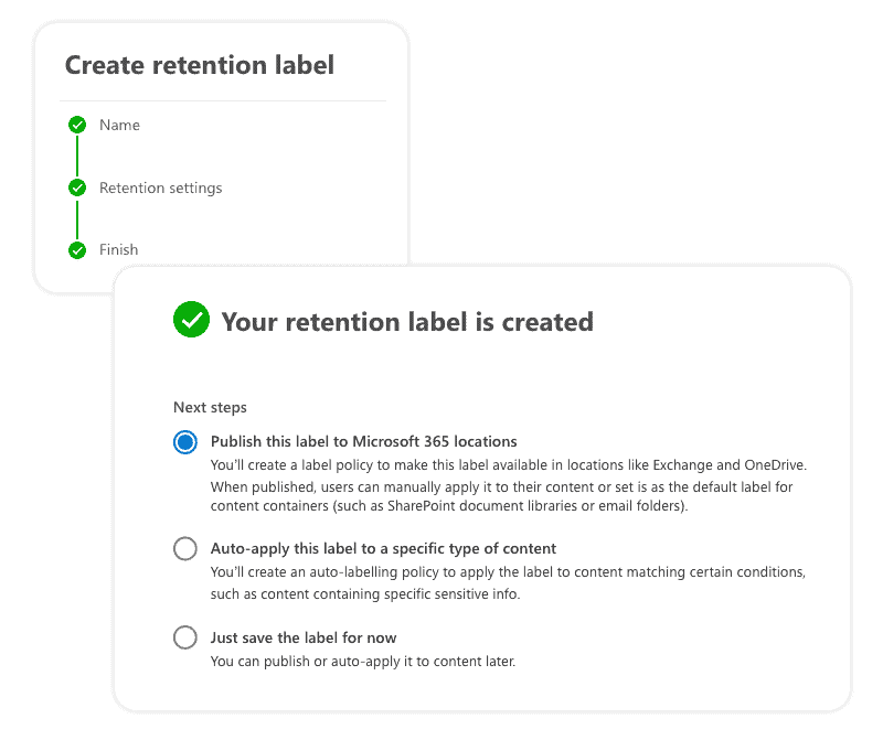 Your office 365 retention label is created